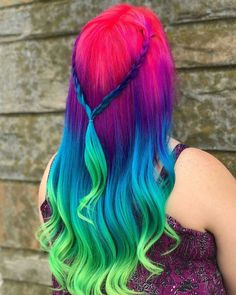 So pretty ♡ dye my hair, half dyed hair, hair dye colors, conditioning. Pretty Hair Color, Beautiful Hair Color, Pretty Hairstyles, Braided Hairstyles, Rainbow Hairstyles, Celebrity Hairstyles, Summer Hairstyles, Haircuts, Green Hair