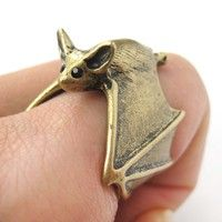 Adjustable 3D Bat Wings Wrap Around Animal Ring in Matte Brass Bronze