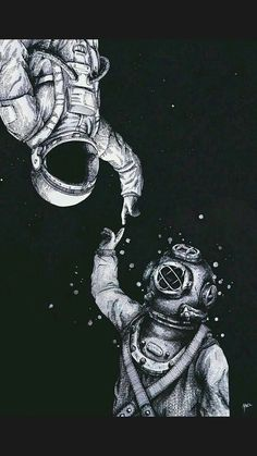 Astronauta e mergulhador. i like the message of two world metting one another. Sketches, Inspiration, Wallpaper, Illustration, Drawings, Art, Pictures