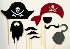 Perfect pirate photo booth props for the Gasparilla party. Photos Booth, Photo Booth Props, Pirate Day, Pirate Theme, Pirate Food, Pirate Photo Booth, Wedding Props, Party Photos, Party Themes