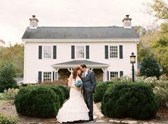 Bride and groom in front of Dara's Garden in Knoxville, TN