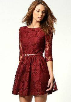 Wine Red Sunflower Embroidery Zipper V Back Seven's Sleeve Above Knee Lace Bridemaids Party Mini Dress