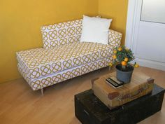 ~Picture of IKEA Futon Hack - this made from a simple futon and even the print on the material she made! complete pics and instructions here too!~
