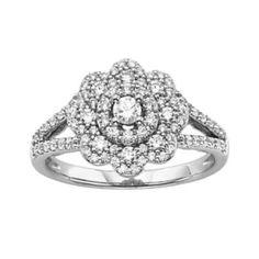 Simply Vera Vera Wang Diamond Flower Engagement Ring in 14k White Gold (3/4 ct. T.W.)