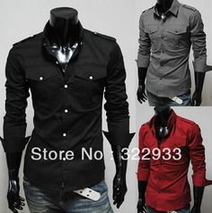 Slim fit men's shirt, multiple colors, pockets and epaulettes details