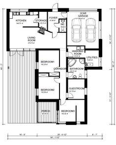 Contemporary Style House Plan - 3 Beds 2 Baths 2109 Sq/Ft Plan #906-1 Main Floor Plan - Houseplans.com