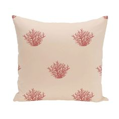 Ocean Coral Design 20-inch Decorative Pillow (Taupe), Grey (Polyester)