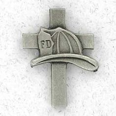 Firemens Helmet over cross
