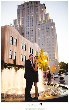 A fabulous place for an elopement in St Louis.  The Maryland Plaza fountain near the Chase Park Plaza. Pic by For The Moment Photo