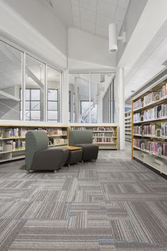 Andersson Architecture incorporated cool blue vibe accents into the Remix 2.0 collection for the O'Fallon Public Library teen area.