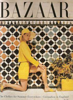 Harper's Bazaar #yellow #vintage fashion #hat