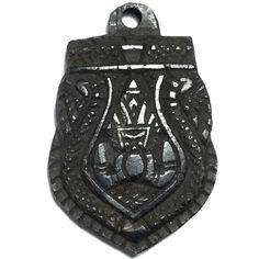 Rahu Om Jantr Sema Kwam Pim Lek Niyom Krob Suudt 1 Eyed Coconut Shell Carved Asura Deva Eclipse God + Spell Inscriptions - Luang Por Pin Wat Srisa Tong, $180 U.S.