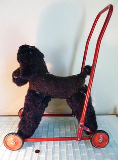 Antique Chiltern Toy Dog Push Wheels Poodle by VintageAndOddities