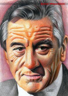 Robert De Niro by Spomo-U on deviantART ~ colored pencil art by Spomenko Ubiparipovic Colored Pencil Portrait, Color Pencil Art, Celebrity Drawings, Celebrity Portraits, Marlon Brando, Caricatures, Great Works Of Art, Mc Escher, Art Drawings