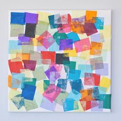 Even toddlers can get into this square artwork. Precut shapes of tissue paper and then use watered-down glue to paint over them, turning a white canvas into a colorful mashup.