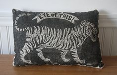 Eye of the Tiger Novelty Decorative Pillow by HorseAndHare on Etsy, $45.00