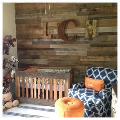 Roundup: Wood Accents Project Nursery - Baby Boy Nursery with Reclaimed Wood Accent Wall - Project NurseryProject Nursery - Baby Boy Nursery with Reclaimed Wood Accent Wall - Project Nursery Rustic Nursery, Baby Nursery Decor, Project Nursery, Nursery Room, Nursery Ideas, Rustic Baby, Bedroom Rustic, Rustic Theme, Child's Room