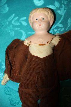 MINERVA TIN HEAD DOLL MADE IN GERMANY OLD TIN DOLL CLOTH BODY 24 CM GERMAN DOLL