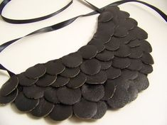 (P)Leather Sequin Bib Necklace Leather Necklace, Leather Jewelry, Bib Necklaces, Necklace Ideas, Shoulder Armor, Collar Designs, Leather Projects, Small Leather Goods, Leather Accessories