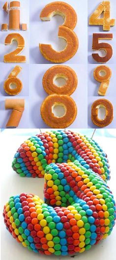 Number Cakes ~ Do you like to feature the age as your cake ? It's easy... All you need to do are  cut the cake in the correct shapes and  decorate it with all your favorite candy ,chocolate or  anything else you like - Be creative and Enjoy
