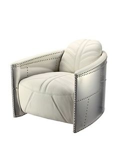 Iconic Accents Aviator Metal Armchair (White)
