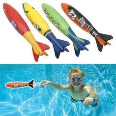 4 Pieces Rubber Swimming Pool Toys Diving Sports Outdoor Toypedo Bandits Play Water Fun Pool Fun Toys Games