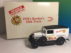 VINTAGE DANBURY MINT DIECAST MODEL CAR BOX 1930 BORDENS WHITE MILK TRUCK DAIRY