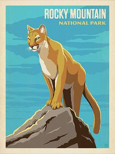 Rocky Mountain National Park: Cougar - Anderson Design Group has created an award-winning series of classic travel posters that celebrates the history and charm of America's greatest cities and national parks. Founder Joel Anderson directs a team of talented Nashville-based artists to keep the collection growing. This print displays the rugged majesty of Rocky Mountain National Park.