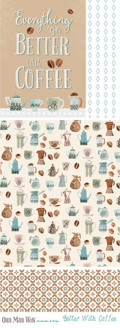 I have a ever growing selection of FOOD AND DRINK designs Coffee pattern surface design Ohn Mar Win Illustration