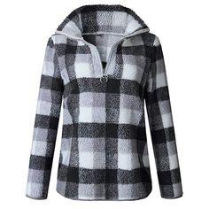 7f424030eaf69 Sweatshirt 2018 Autumn And Winter Fashion Lattice Long Sleeve Turn-down  Collar Zipper Top Women Loose Ropa