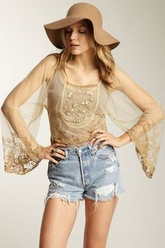 Free People 'Show Pony Lady' Tulle Mesh Top Champagne Lace Gold OPEN BACK NWOT #FreePeople #Blouse #Casual
