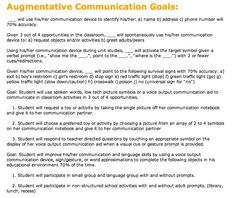 Some IEP Goals for AAC listed on my wonderful colleague Pat Mervine's Speakingofspeech.com website.  Be sure each of your goals is MEASURABLE and could be easily followed by a clinician with no prior knowledge of the student.  Each goal should include: From a baseline of  ___, the student will....  perform a specific skill  a specified number of times  under specified conditions  at a specified level of achievement  for a specific length of time.