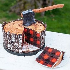 By @jennycookies lumberjack cake with buffalo check innards.  Crafter's cake?