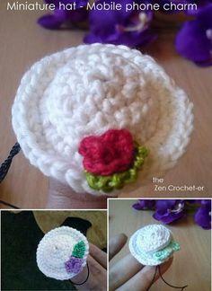 Miniature hat phone charm - free pattern