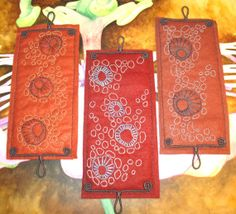 Wall hanging mini triptych hand embroidered by ClarksvilleWeaver, $110.00