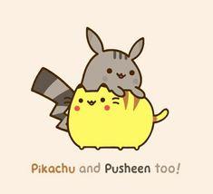 Pikachu and Pusheen so cute! Nyan Cat, Pikachu Pikachu, Female Pikachu, Chat Kawaii, Kawaii Cat, Gif Pusheen, Kawaii Drawings, Cute Drawings, Cute Pokemon