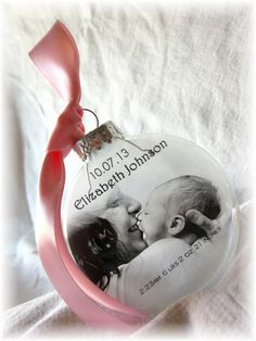 New Baby's Custom First Christmas Wedding Holiday Glass Photo Ornament Keepsake Gift- Large Over 3 Inches Like Thin Vellum or Etched Glass
