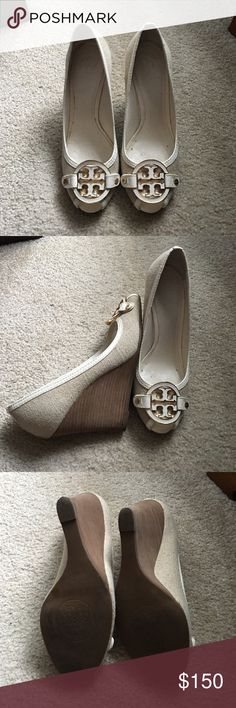 Wedge shoe Tory Burch Amanda white leather and canvas open toe wedge Tory Burch Shoes Wedges