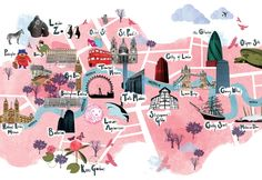 cute #tourist #map illustration with major sights in #london