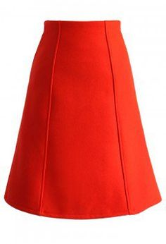 Classy Wool-blend A-line Skirt in Ruby - Retro, Indie and Unique Fashion
