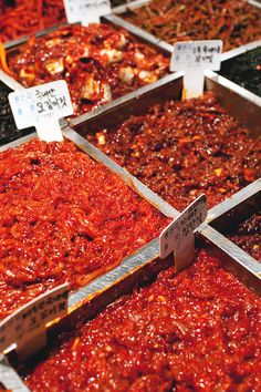 All kinds of spicy pickled sea creatures @ Namdaemun Market in Seoul, Korea