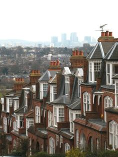 Hillfield Park, Muswell Hill  The Edwardian houses of steep Muswell Hill, a suburban street in the northern part of greater London, England. The background view is Canary Wharf; one of London's major business districts.