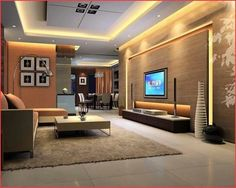 Design Ideas, Fabulous Led Lighting Beautify Wall And Ceiling Of Futuristic Tv Room Designs Completed With Luxury Furniture Sets: Designing Pleasurable Television room For the Home Home Design Living Room, Interior Design Living Room, Luxury Living, Modern Living, Luxury Furniture, Furniture Sets, Apartment Living, Foyer, House Design