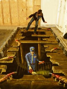 #3D #Illusions #Street #Art. This #awesome graffiti makes you #believe you're looking through this #wood #deck being #built. #graffiti #street #art #NicholasYust #ModernCrowd STREET ART COMMUNITY » We declare the world as our canvas. www.moderncrowd.com/reverse-graffiti-street-art