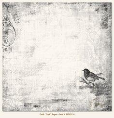 """Dwustronny papier z kolekcji """"Meadowlark - Lark"""", w odcieniach czerni, szarości i bieli."""