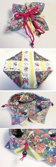 Fabric Gift Pouch Tutorial.   http://www.handmadiya.com/2015/09/fabric-gift-pouch-tutorial.html