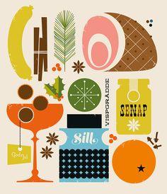 Graphic design and food illustration Art And Illustration, Illustration Design Graphique, Food Illustrations, Cocktail Illustration, Food Graphic Design, Vintage Graphic Design, Retro Design, Vintage Cookbooks, Grafik Design