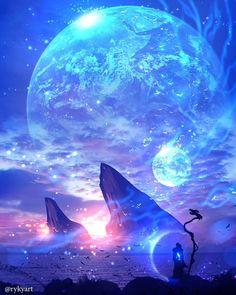 - Shuki Gacha - Space Everything Scenery Wallpaper, Landscape Wallpaper, Galaxy Wallpaper, Wallpaper Backgrounds, Fantasy Art Landscapes, Fantasy Landscape, Fantasy Artwork, Galaxy Painting, Galaxy Art