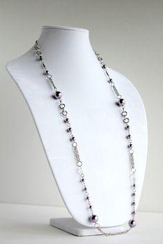 Long Purple Pearl Necklace - Trendy - Beautiful - Elegant