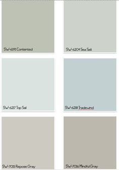 THESE PAINT COLORS. Light blue for bedroom, darker blue or light green for bathroom, grays for kitchen and living room- Sherwin Williams Paint Colors Interior Paint Colors, Paint Colors For Home, Paint Colours, Interior Painting, Beachy Paint Colors, Calming Colors, Neutral Paint, Gray Interior, Interior Design